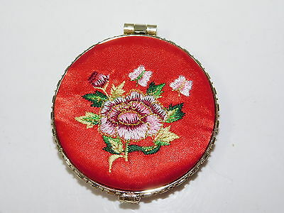 SILK Red Floral Embroidered Double Face Make-Up Mirror COMPACT