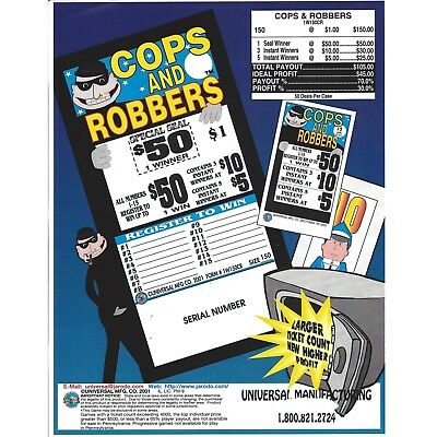 """""""Cops and Robbers"""" 1 Window Pull Tab Tickets - 150 Tickets Per Deal - Total Pay"""