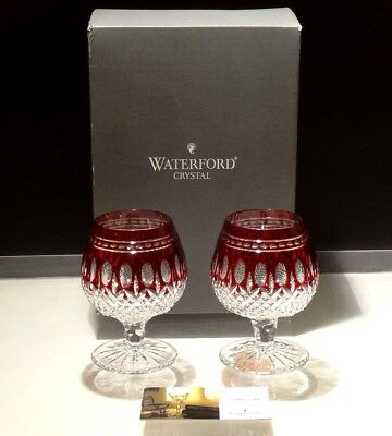 2 Waterford Clarendon Brandy Snifter Glasses Ruby Red ~ In Original Box