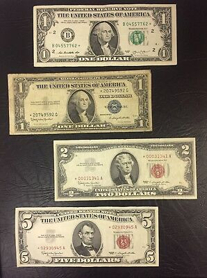 Currency Collection of Star $1.00 's , $2.00 , & $5.00 (4) Note Collection