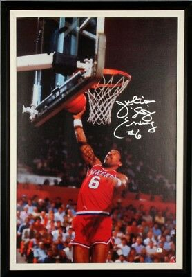 76ers – Juilus Erving Signed, Inscribed Canvas 23″ x 33-1/2″ Giclee Photo Dis...