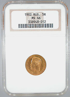 1902 Russia 5 Rouble MS-66 NGC Certified