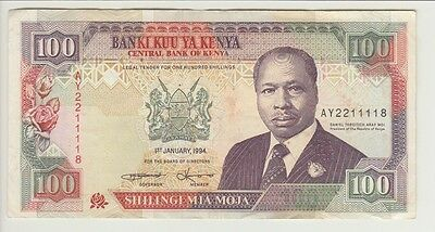 KENYA BANKNOTE P27f-1118 100 SHILLINGS 1 JAN 1994, VF