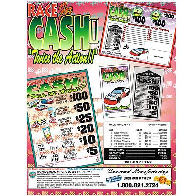 """""""Race for Cash II"""" 1 Window Pull Tab Tickets 659 Tickets Per Deal, Pay  Out $535"""