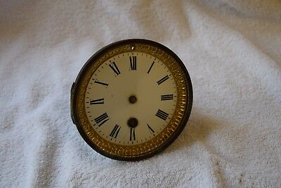 antique  french clock movement  and enamel dial