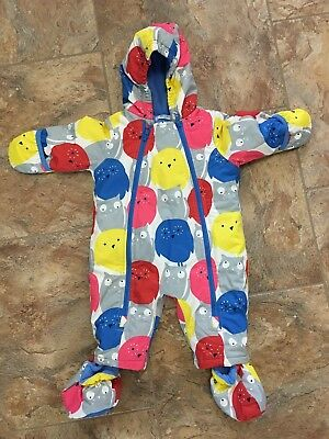Baby Boden 3-6 Months Winter Snowsuit One Piece Booties Owls Cats Fleece Lined