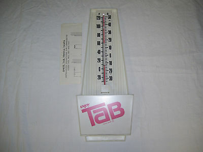 Vintage Tab Soda Plastic Advertising Thermometer with Installation Instructions