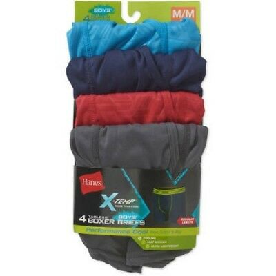 Hanes Boys' X-Temp 4 Pack Performance Cool Boxer Briefs 10-12 Med (Colors vary)