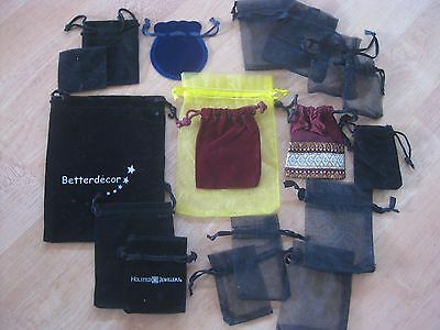 SMALL lot of JEWELRY BAGS POUCHES  - drawstring velvet net mixed lot