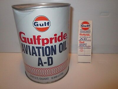 Gulf Aviation Oil Qt. Can And Aircraft Engine Oil Lube Sticker