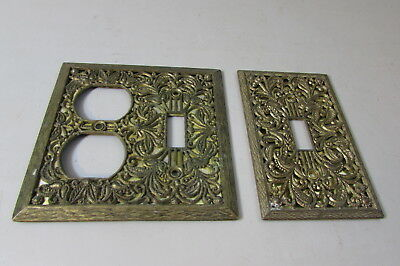 2 VTG Ornate Regency Brass Scrolled Floral Mirrored Outlet Switch Plate Covers