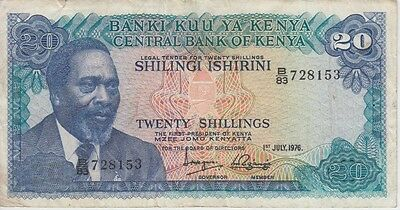 KENYA BANKNOTE P13c-8153 20  SHILLINGS 1976, MINOR TEAR AT TOP,F