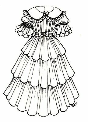 "Period Dress outfit French German Victorian  PATTERN for a 16"" to 17"" Doll"
