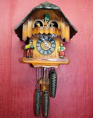 Black Forest Cuckoo Clock to Schwarzwald with figures turning+Carillon*3Weights*