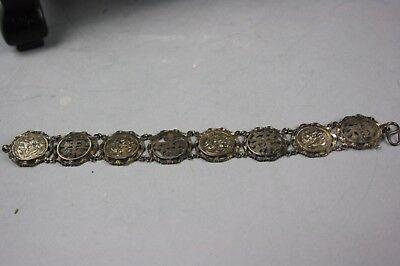 19th/20th C. Chinese Silver Carved Bracelet