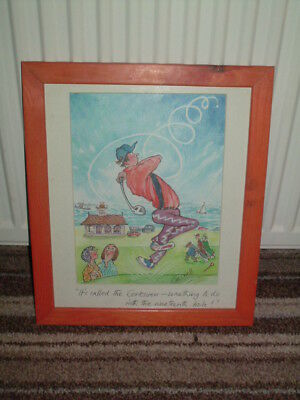Framed Golf Caricature Signed Creswell