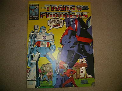 The TRANSFORMERS Comic - No 73, August 9th 1986 Marvel comics ,