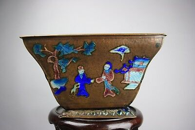 19th/20th C. Chinese Bronze Shaolan Square Bowl