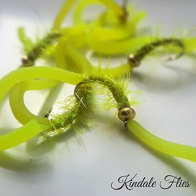 Lime Fritz Squirmy Worm Size 12 (Set of 3) uv Fly Fishing Flies Trout