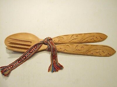 Old Norwegian Achantus Carved Wooden Spoon and Fork