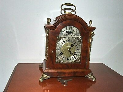 Vintage Dutch/English Walnut 8 Day Bracket/Mantle Pendulum Clock, Moon phase.