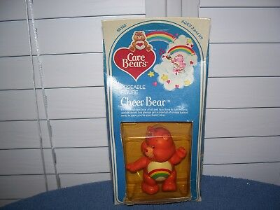 Vintage 1984 Cheer Bear Care Bears Poseable Figures in Box 3 1/4""