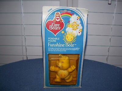 Vintage 1984 Funshine Bear Care Bears Poseable Figures in Box 3 1/4""