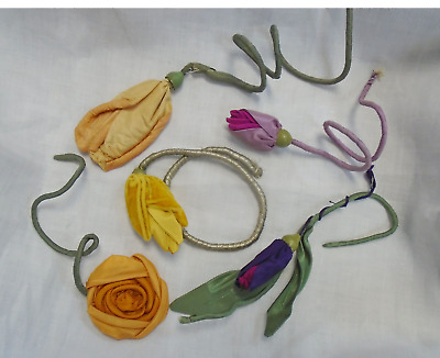 LOT OF 5 ANTIQUE SILK MILLINERY FLOWERS WITH STEMS - HAND MADE c. 1900-20
