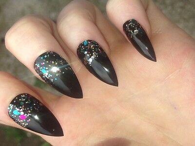 Hand Painted Press On False Nails x 20/24 Coffin Stiletto Square Halloween Etc