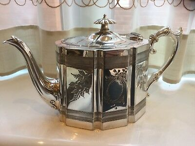 Beautiful Antique Victorian James Dixon Silver Plated Chased Tea Pot