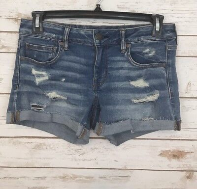 American Eagle Womens Jean Shorts Size 10 Distressed Super Stretch Shortie Short