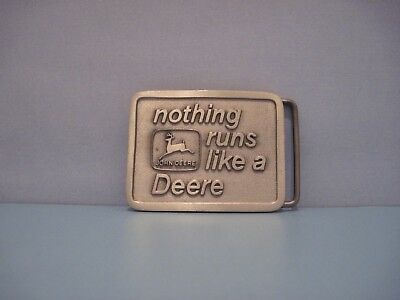 "Vintage 1975 John Deere & Co. ""nothing runs like a Deere"" pewter belt buckle"