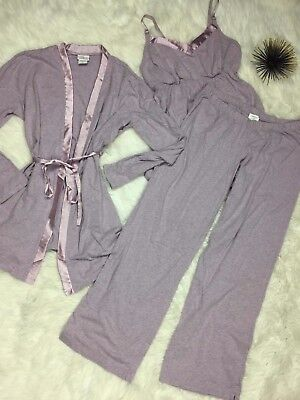 Oh Baby Motherhood Materniy 3pc PJ Lounge Wear Sleep Pants Tank Robe Lavender M
