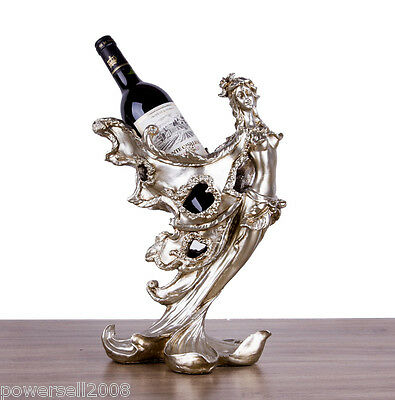 New European Decoration Gift Resin 1 Bottle Fairy Maiden Wine Rack Holder &$