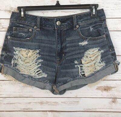 American Eagle Womens Jean Shorts Size 10 DESTROYED High Rise Lace Pockets
