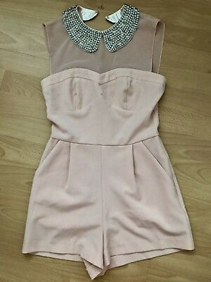 ASOS Nude Playsuit With Jewel Encrusted Collar Size 6