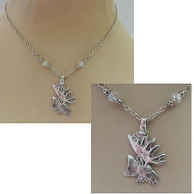 Silver Moose Pendant Necklace Jewelry Handmade NEW Accessories Fashion Chain