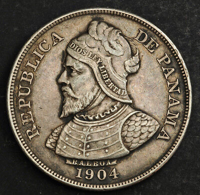1904, Panama (Republic). Large Silver Dollar-Sized 50 Centimos Coin. Scarce!