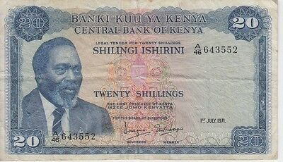 KENYA BANKNOTE P8b-3552  20 SHILLINGS 1971, TEAR AT BOTTOM,  F