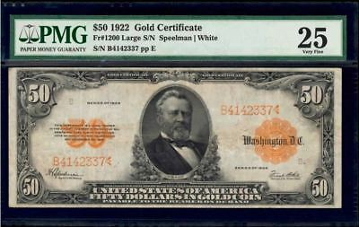 Fr. 1200 1922 $50 Gold Certificate Large S/N Speelman / White PMG 25 VERY FINE