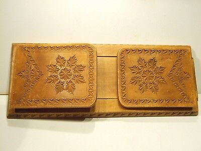 Old Norwegian Chip Carved Wooden Bookends