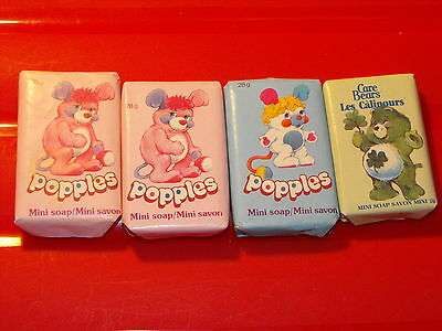 Vintage 1980s Lot of 3 Popples & 1 Care Bears Mini Soap Bars New Canadian
