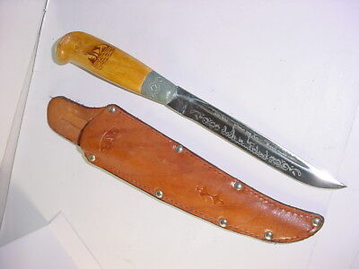 vintage GENSCO hunting knife Finland with leather sheath