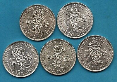 1942 - 1946 DATE RUN, 5 x GEORGE VI FLORIN SILVER COINS IN BEAUTIFUL CONDITION