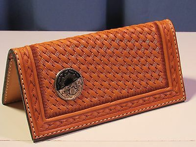 Hand tooled leather checkbook with medallion from Texas