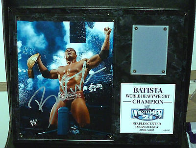 Wwe Plaque Batista Wrestlemania 21 Signed Autograph Only /400 Wm21 Wrestle La