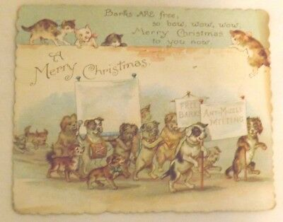 Vtg Anthropomorphic Dogs & Cats Victorian Christmas Card Ernest Nister London