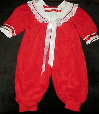 Precious Vintage Fancy Pants Christmas Holiday Red White Romper 12 M Evc U.s.a.