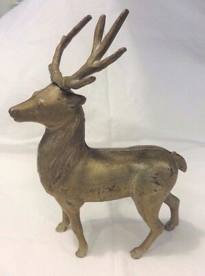 """Early American 19th Century Cast Iron Elk Deer Stag Still Bank 8 3/4"""""""