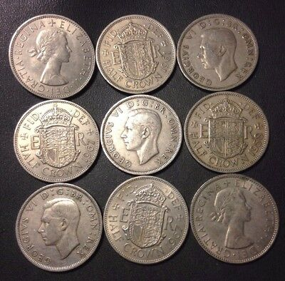Vintage Great Britain Coin Lot - 9 Great Half Crowns  - Lot #920